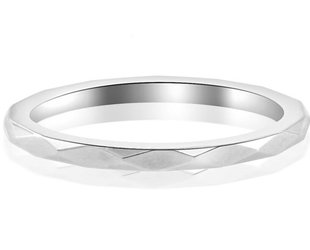 Trabert Goldsmiths Thin Platinum Faceted Spectra Band E1351