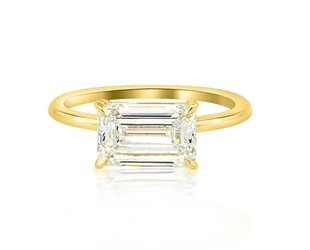 Trabert Goldsmiths 2.02ct IVS2 Emerald Cut Dia Aura Ring E1658