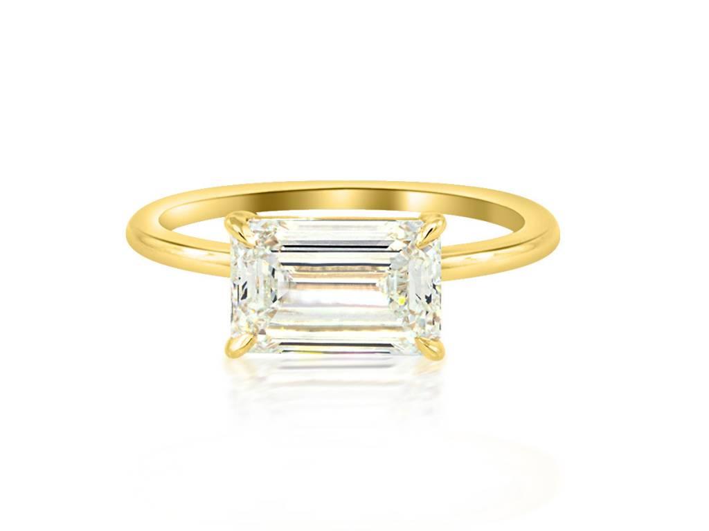 Trabert Goldsmiths 2.02ct IVS2 Emerald Cut Dia Aura Ring