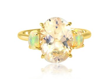 Trabert Goldsmiths 2.91ct Rainbow Moonstone and Opal Aura Ring