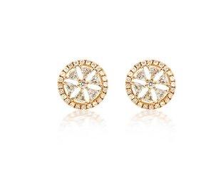 Trabert Goldsmiths Geometric Round Diamond Stud Earrings E1665