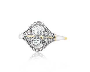 Trabert Goldsmiths Petite Deco Twin Diamond Ring E1678