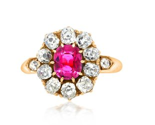 Trabert Goldsmiths Antique Pink Sapphire Dia Cluster Ring E1679