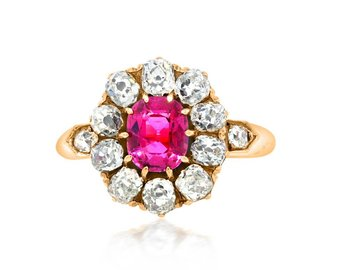 Trabert Goldsmiths Antique Pink Sapphire Dia Cluster Ring E1679