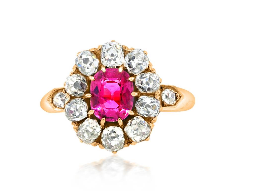 Trabert Goldsmiths Antique Pink Sapphire Dia Cluster Ring