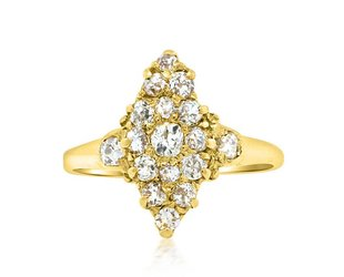 Trabert Goldsmiths Victorian Diamond Navette Ring E1680