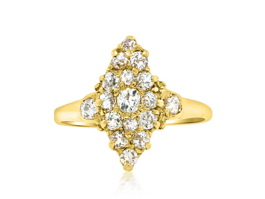 Trabert Goldsmiths Victorian Diamond Navette Ring