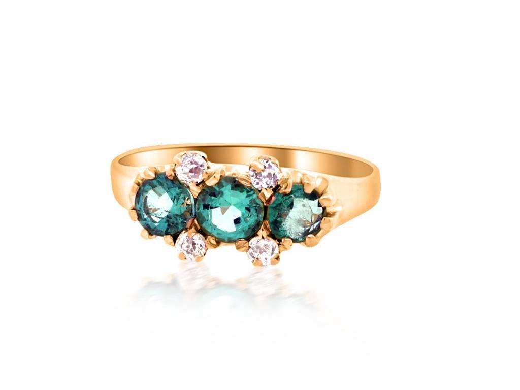 Victorian 3 Stone Emerald and Diamond Ring