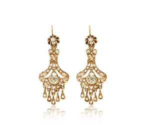 Trabert Goldsmiths Antique Victorian Diamond Drop Earrings E1686