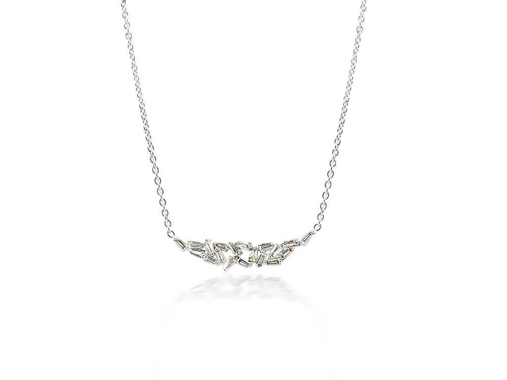Trabert Goldsmiths Baguette Dia White Gold Bib Necklace