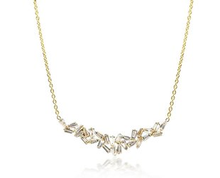 Trabert Goldsmiths Large Baguette Dia Gold Bib Necklace E1692
