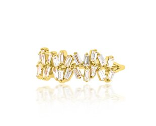Trabert Goldsmiths Double Freeform Baguette Dia Ring E1702