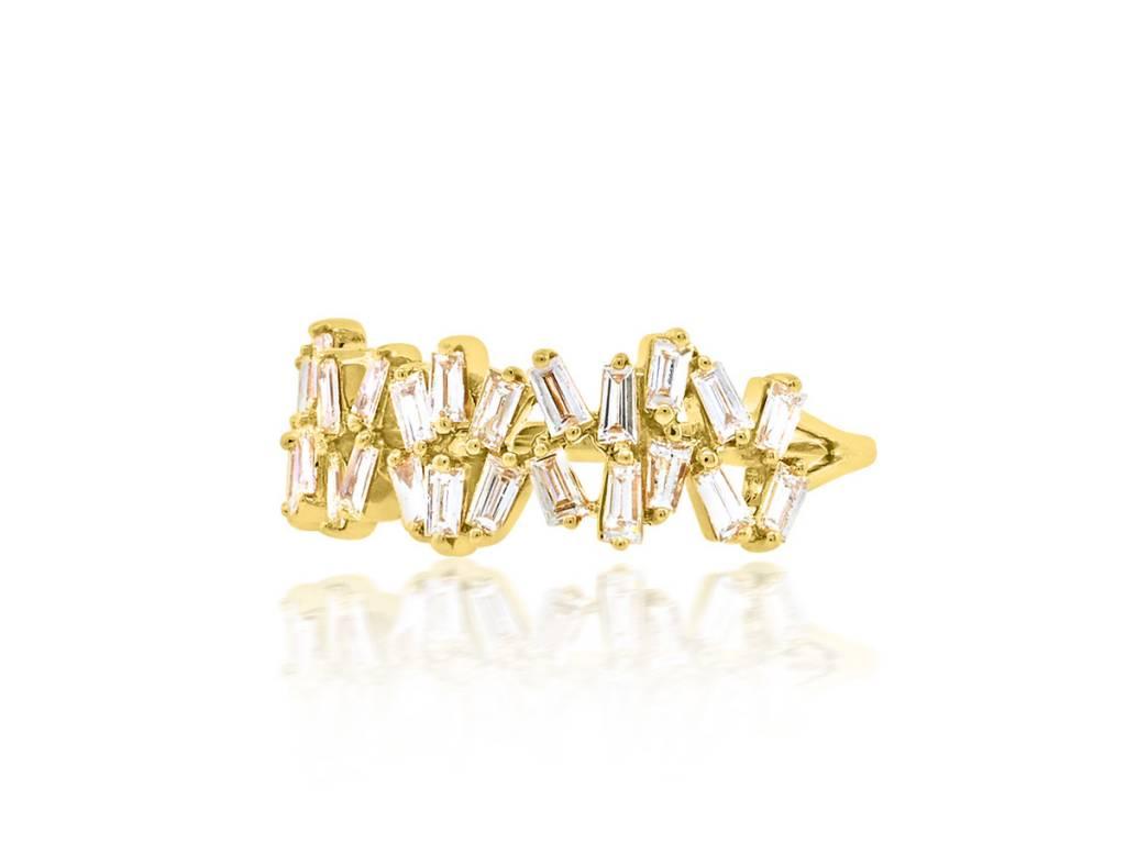 Trabert Goldsmiths Double Freeform Baguette Dia Ring