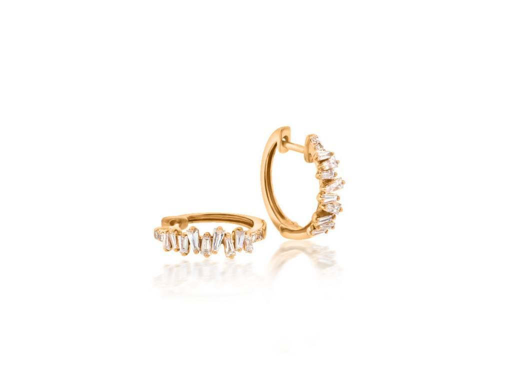 953c54daed4abb Organic Baguette Dia Rose Gold Earrings E1703 - Trabert Goldsmiths