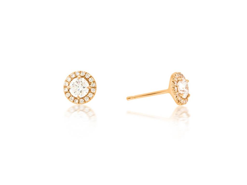 Trabert Goldsmiths 0.85ct GVS2 Diamond Halo Stud Earrings