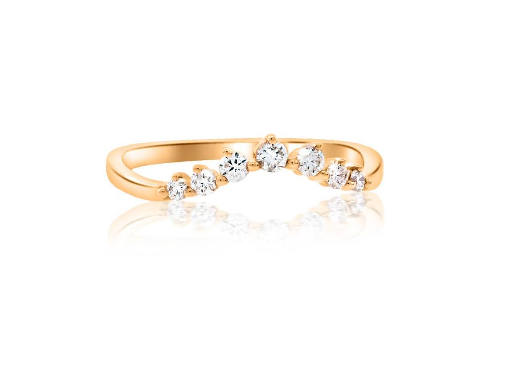Liven Chevron Diamond Curved Rose Gold Ring
