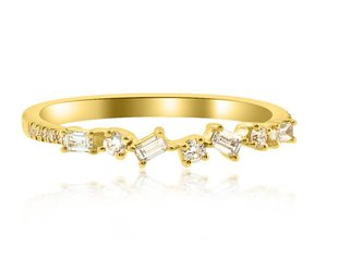 Liven Mini Diamond Baguette Yellow Gold Ring LN21