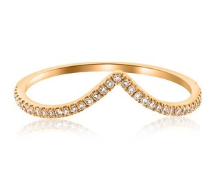 V Shaped Pave Diamond Rose Gold Ring LN33