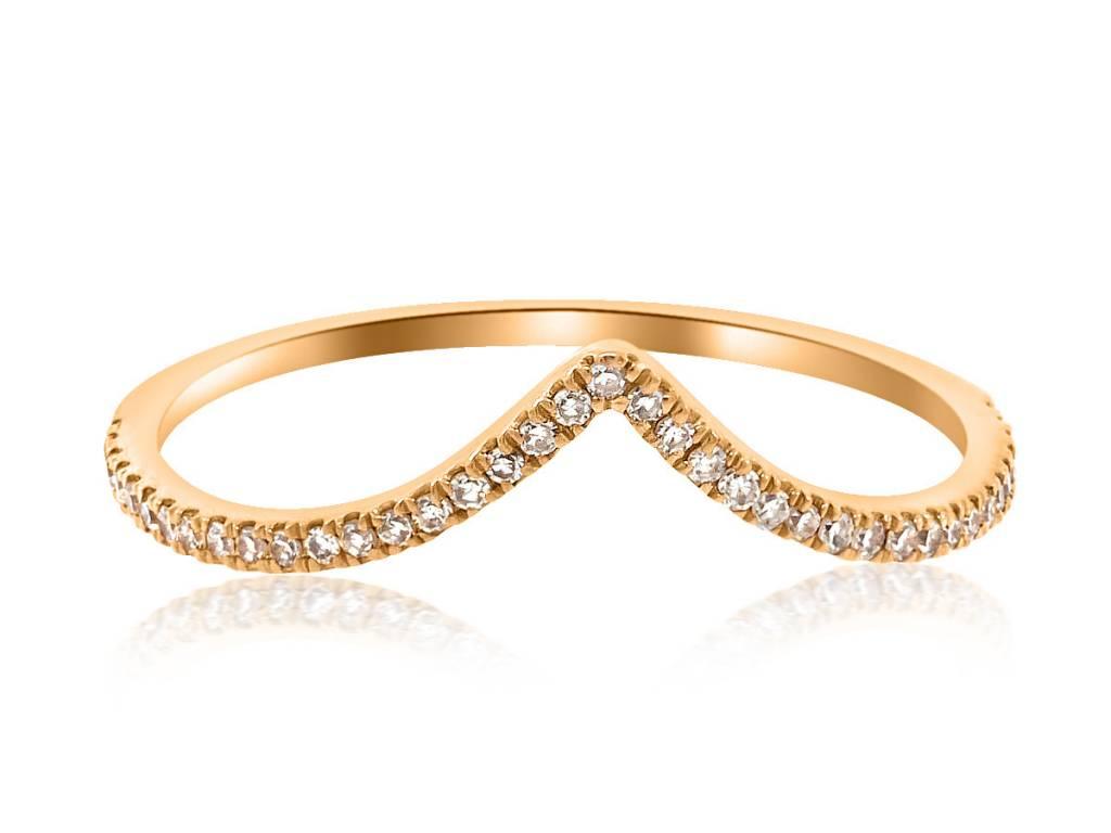 Liven V Shaped Pave Diamond Rose Gold Ring