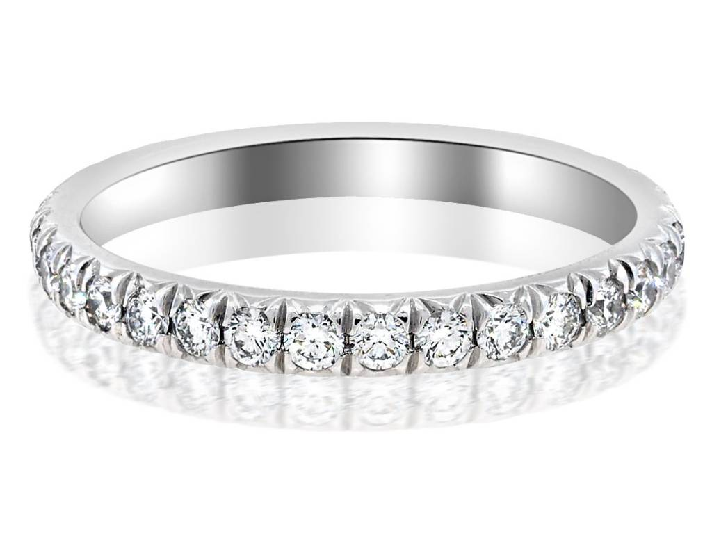 Trabert Goldsmiths Large Linea French Pave Diamond Eternity Band