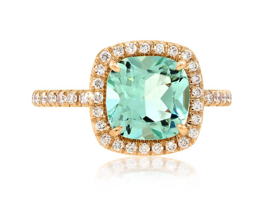 Trabert Goldsmiths 2ct Mint Green Aquamarine Goddess Ring