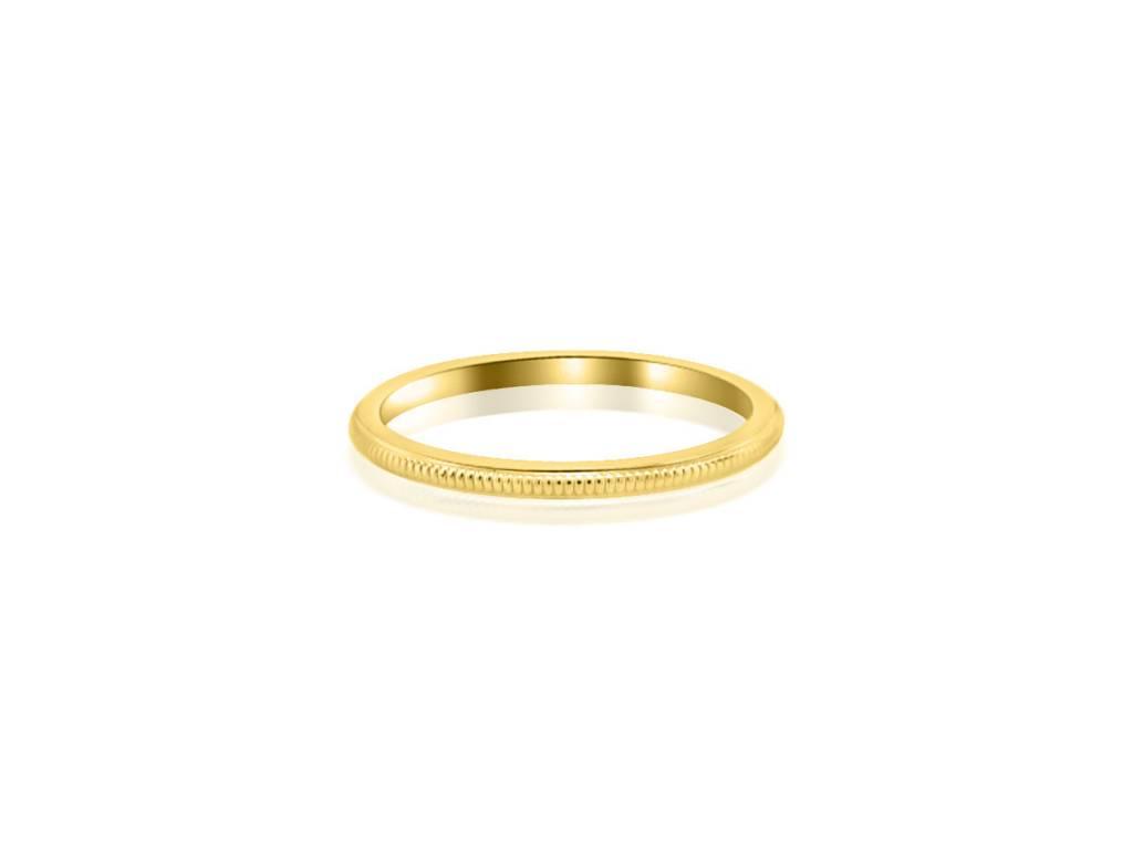 Thin Milgrain Yellow Gold Band