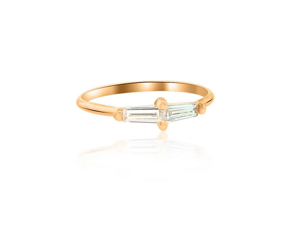 Double Baguette Diamond Gold Ring