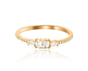 Luvente Baguette Diamond Rose Gold Ring LV71