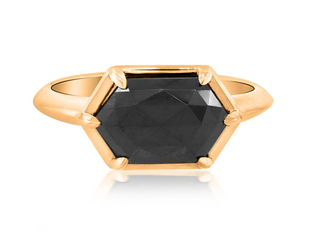 Trabert Goldsmiths 2.34ct Black Diamond Stella Ring