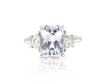 Trabert Goldsmiths 4.36ct Radiant Cut Pale Blue Sapphire Ring E1729