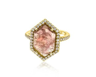 Lauren K Hexagonal Pink Sapphire and Diamond Ring LK30