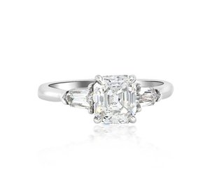Trabert Goldsmiths 1.32ct DVS1 Asscher Cut Dia 3 Stone Ring E1156