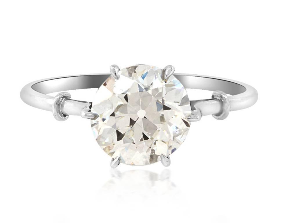 Trabert Goldsmiths 1.65cts JVS2 OE Diamond Antique Platinum Ring