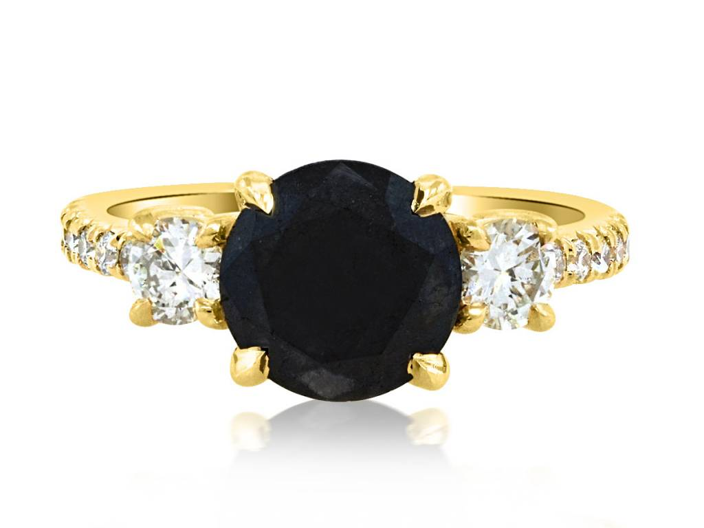 Trabert Goldsmiths 2.12ct Round Black Dia Dark Star Ring