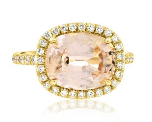 Trabert Goldsmiths 4.56ct Peach Sapphire Golden Goddess Ring E1585