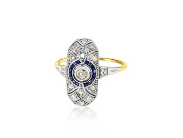 Trabert Goldsmiths Antique Deco Sapphire and Diamond Ring E1657