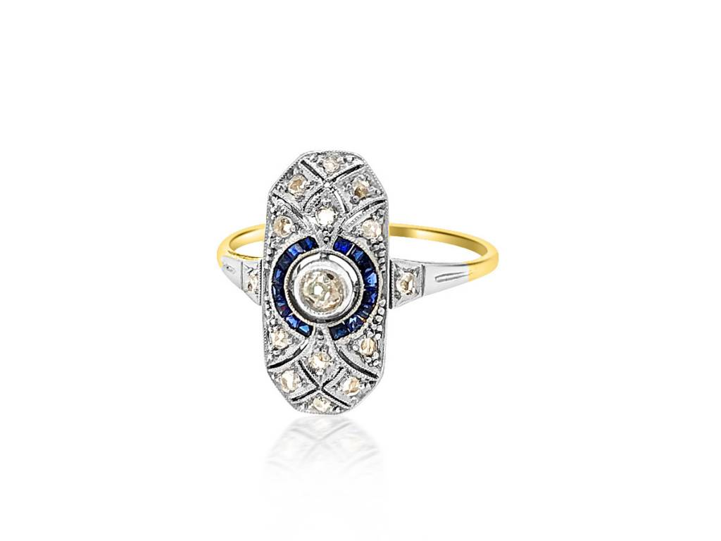 Trabert Goldsmiths Antique Deco Sapphire and Diamond Ring