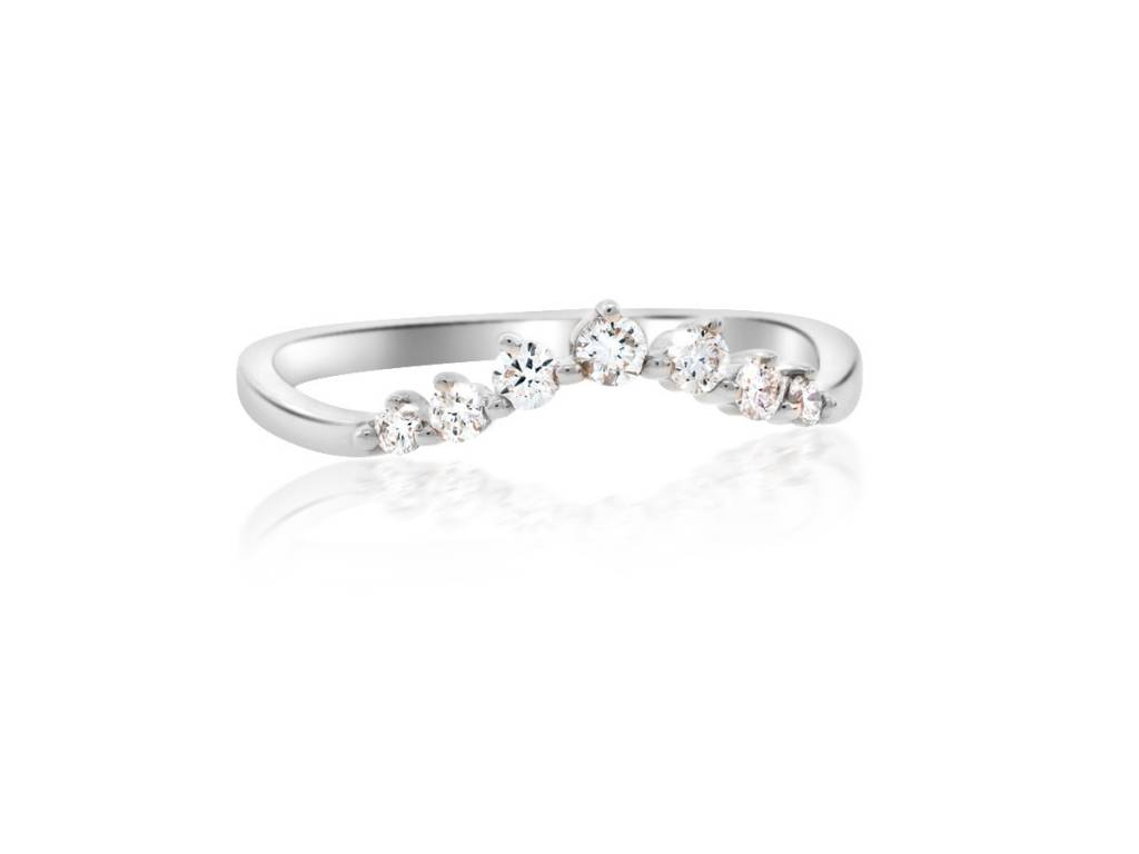 Curved Chevron Diamond White Gold Ring