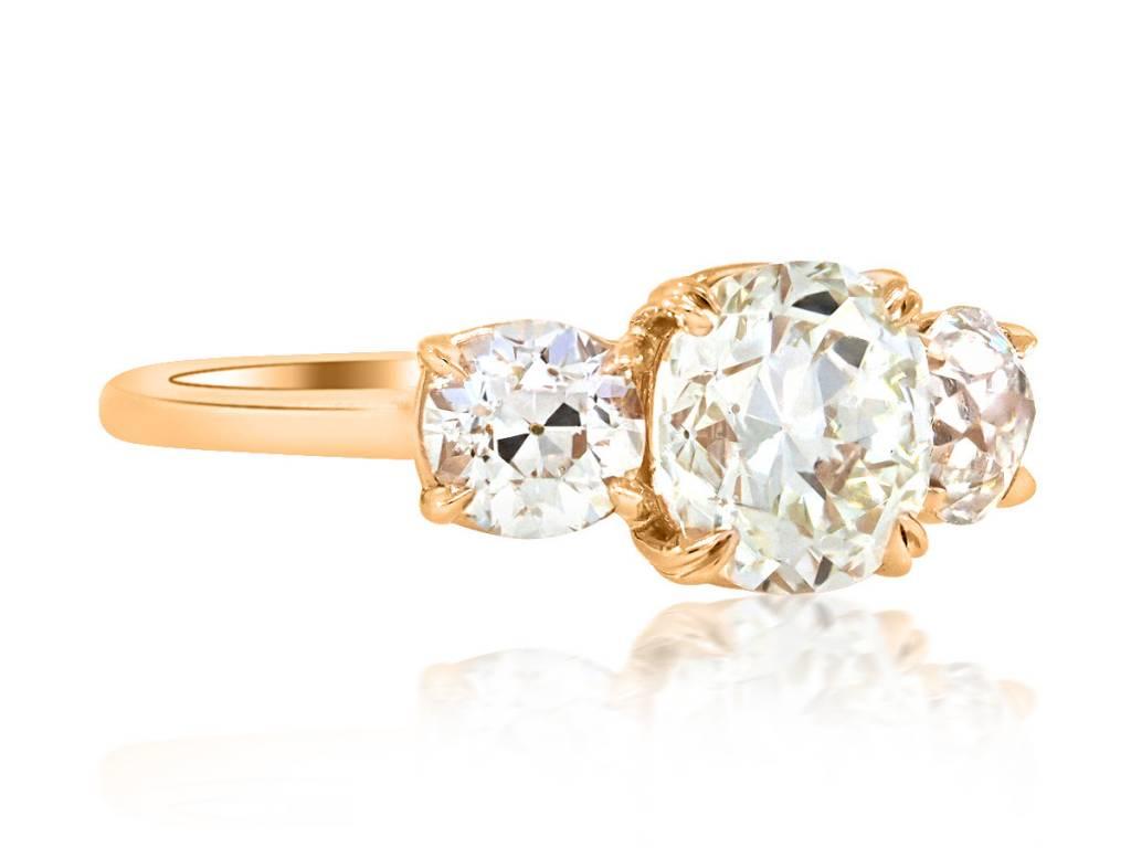 Trabert Goldsmiths 1.90ct LSI1Old European Cut Dia Trinity Ring E1571