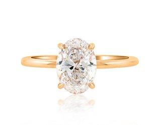 Trabert Goldsmiths 1.61ct DSI1 Oval Diamond Aura Ring E1741