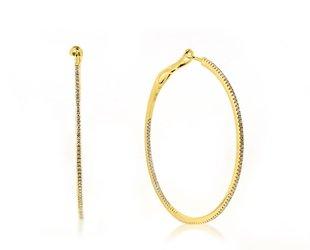 Luvente Delicate Large Diamond Gold Hoop Earrings LV75