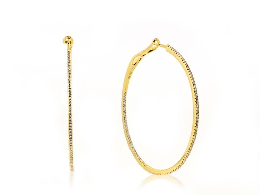 Luvente Delicate Large Diamond Gold Hoop Earrings