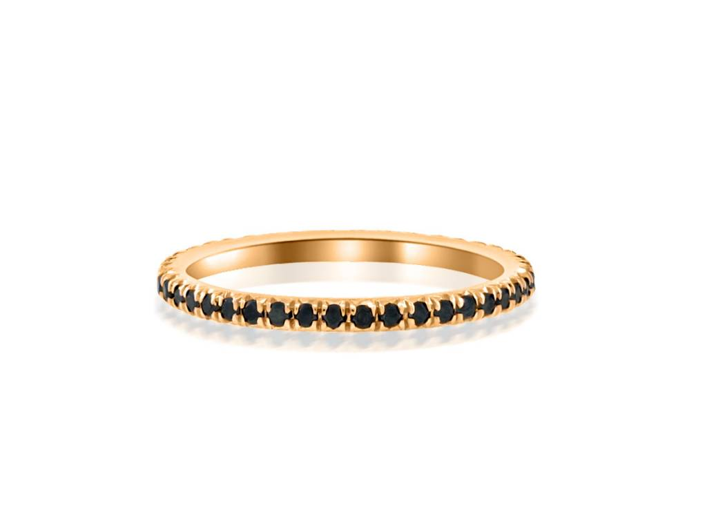 Trabert Goldsmiths Black Diamond and Rose Gold Eternity Band