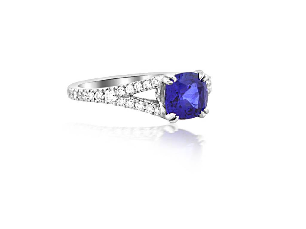 Trabert Goldsmiths 1.44ct Cushion Blue Sapphire and Diamond Ring
