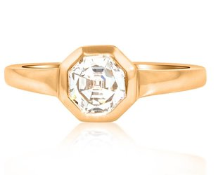 Trabert Goldsmiths 0.90ct Octagonal Asscher Cut Dia Ring E1420
