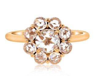 Trabert Goldsmiths 1.06ct twt Rose Cut Dia Cluster Ring E1448