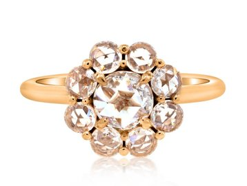 3cf5cad275538a 1.06ct twt Rose Cut Dia Cluster Ring E1448. Diamond cluster ring