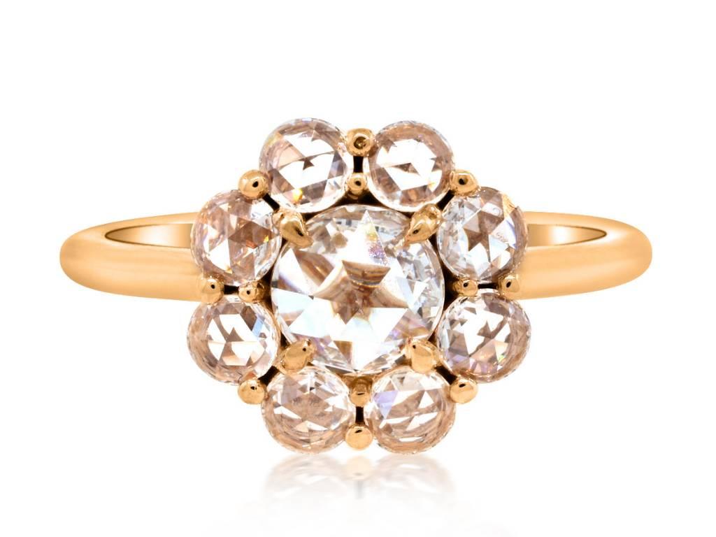 Trabert Goldsmiths 1.06ct twt Rose Cut Dia Cluster Ring