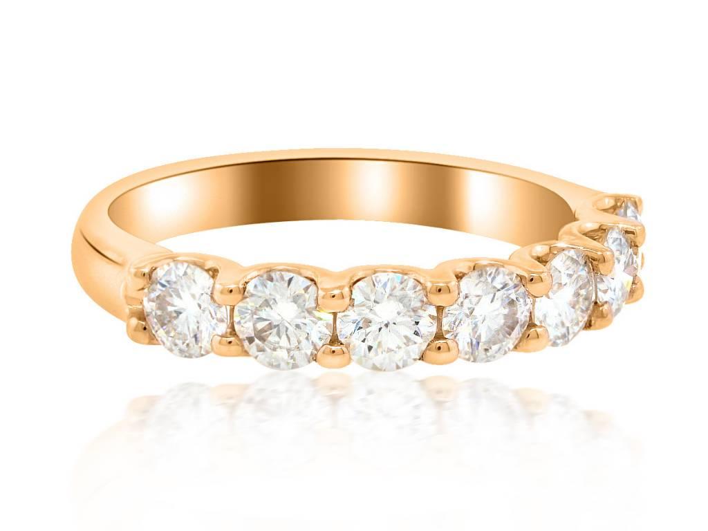 Trabert Goldsmiths 7 Stone Moissanite Rose Gold Ring