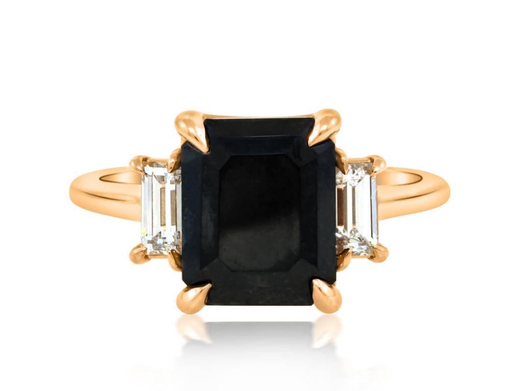 Trabert Goldsmiths 3.68ct Dark Star Black Diamond Ring